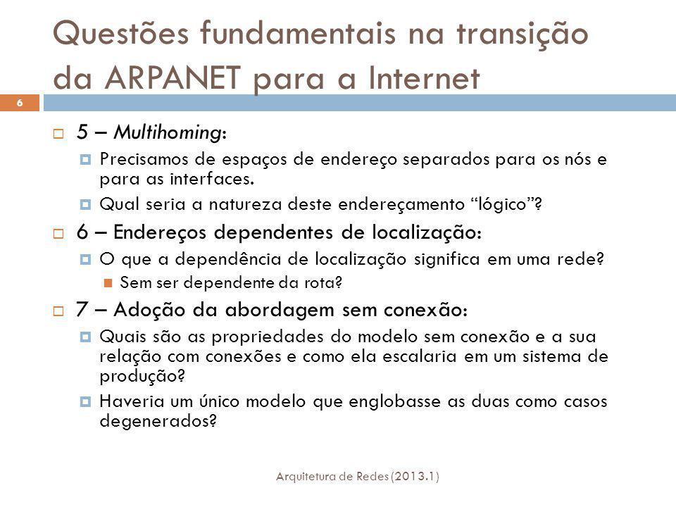Questões fundamentais na transição da ARPANET para a Internet Arquitetura de Redes (2013.1) 6 5 – Multihoming: Precisamos de espaços de endereço separados para os nós e para as interfaces.