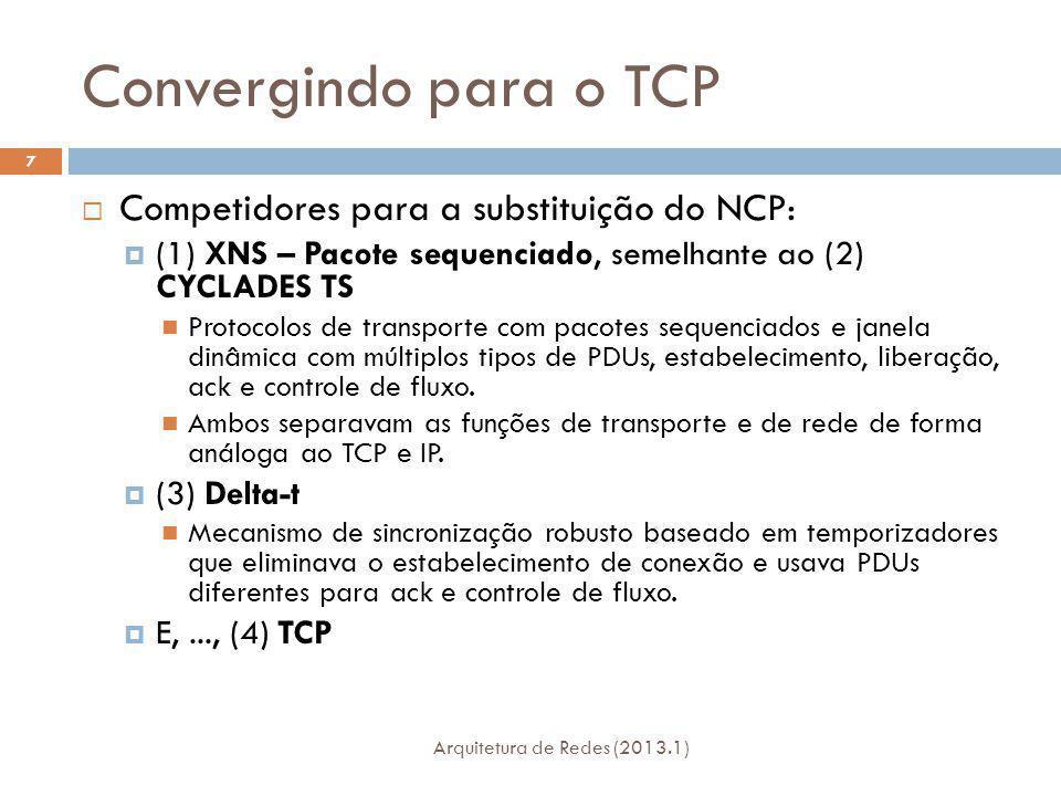 Convergindo para o TCP Arquitetura de Redes (2013.1) 7 Competidores para a substituição do NCP: (1) XNS – Pacote sequenciado, semelhante ao (2) CYCLADES TS Protocolos de transporte com pacotes sequenciados e janela dinâmica com múltiplos tipos de PDUs, estabelecimento, liberação, ack e controle de fluxo.