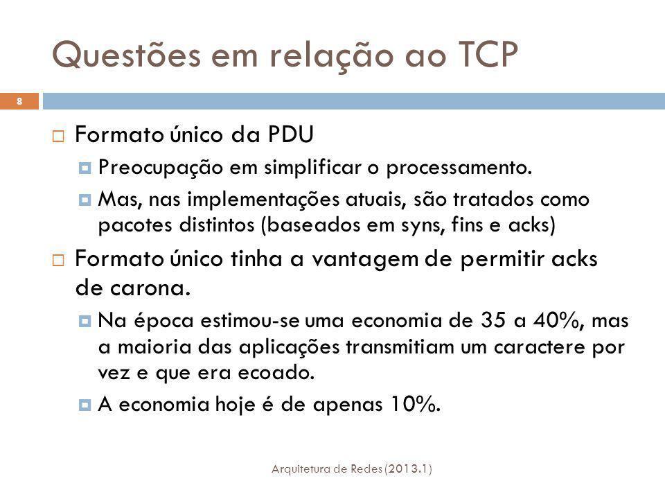 Questões em relação ao TCP Arquitetura de Redes (2013.1) 8 Formato único da PDU Preocupação em simplificar o processamento.