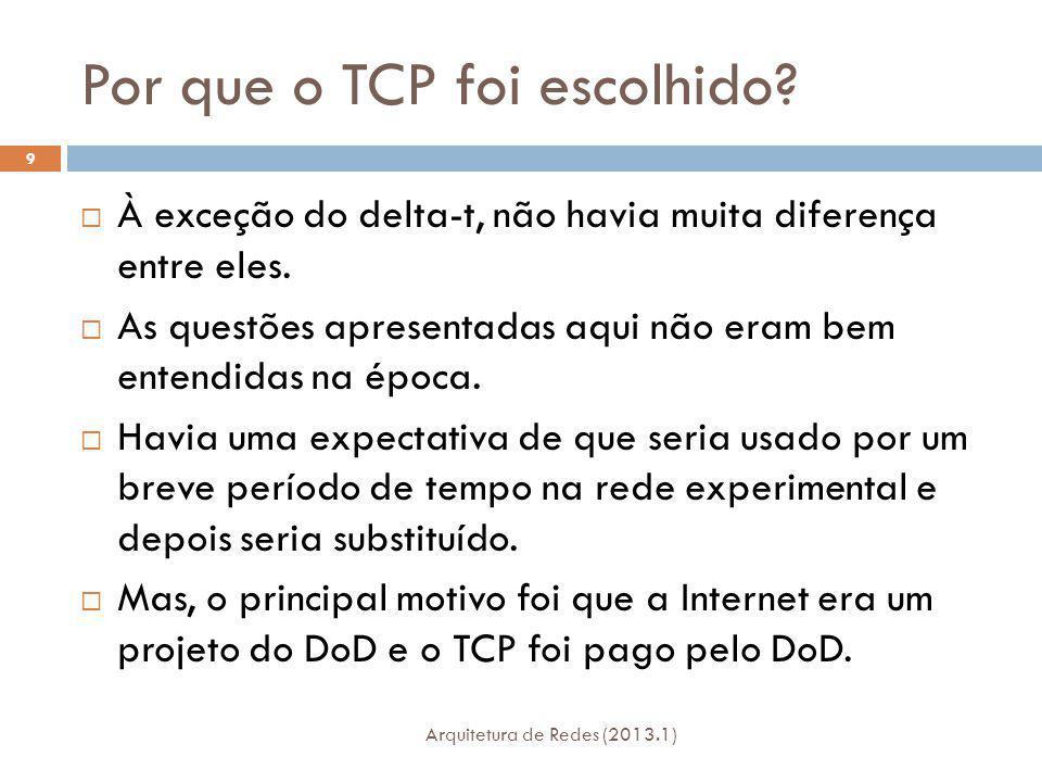 Por que o TCP foi escolhido.