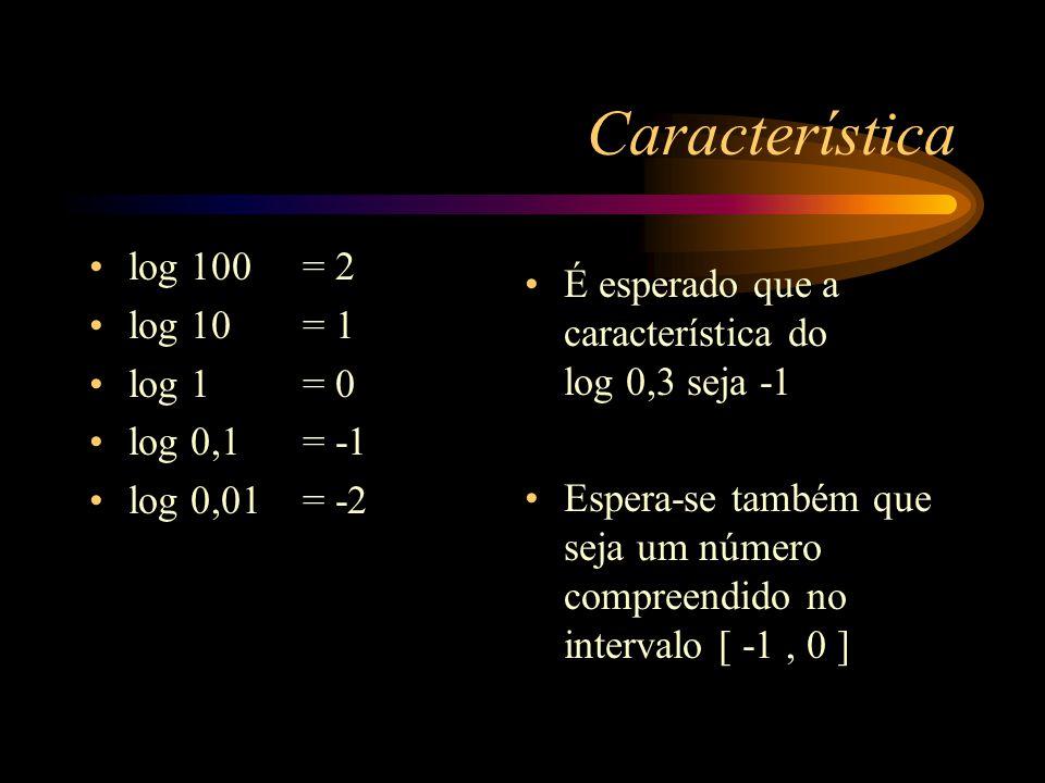 Aplicação 01 Qual a característica dos seguintes logarítmos: log 3 log 20 log 785 log 1234567
