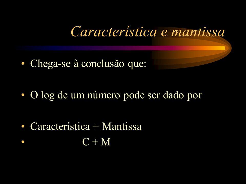 Característica e Mantissa Log 300 pode ser escrito como: log 100. 3 = = log 100 + log 3 = = 2 + 0,4771 = = 2,4771 Característica 2 e mantissa 0,4771