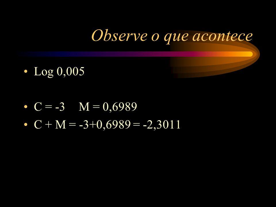 Característica e mantissa Chega-se à conclusão que: O log de um número pode ser dado por Característica + Mantissa C + M