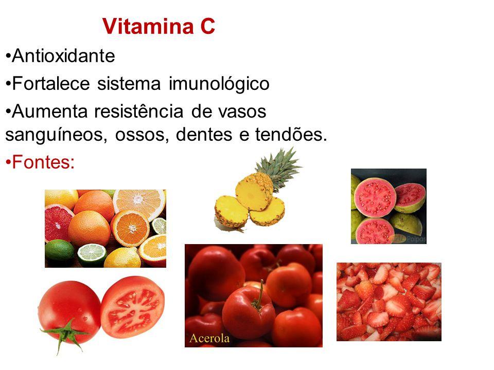 Vitamina C Antioxidante Fortalece sistema imunológico Aumenta resistência de vasos sanguíneos, ossos, dentes e tendões.