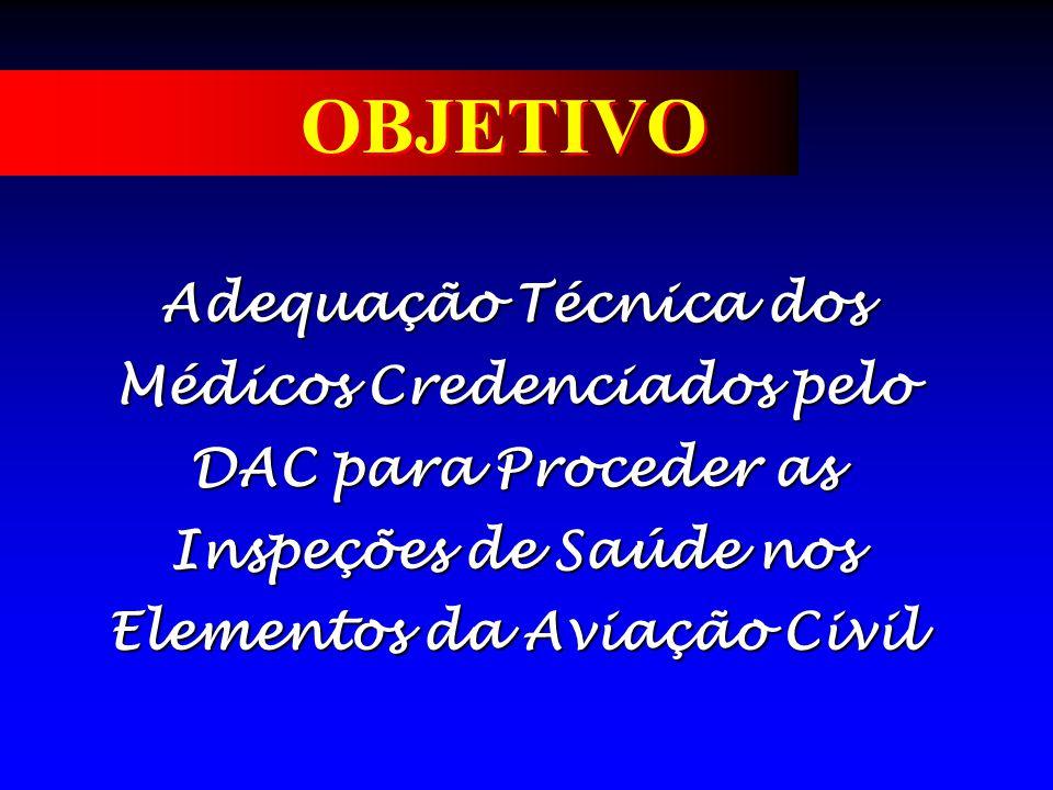 OBJETIVO Adequação Técnica dos Médicos Credenciados pelo DAC para Proceder as Inspeções de Saúde nos Elementos da Aviação Civil