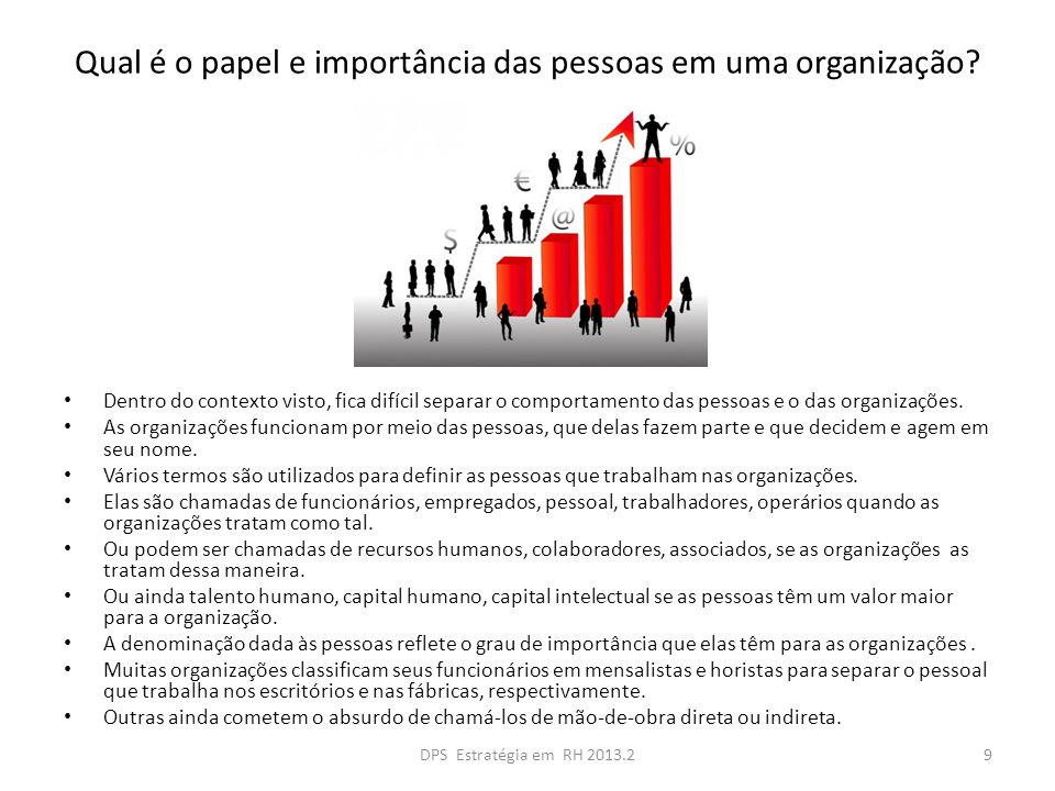 Qual é o papel e importância das pessoas em uma organização.