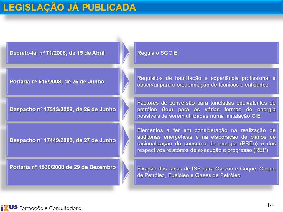 Formação e Consultadoria 16 LEGISLAÇÃO JÁ PUBLICADA