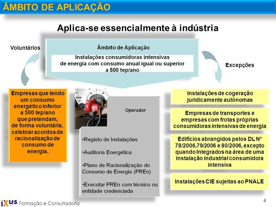 Formação e Consultadoria 4 Aplica-se essencialmente à indústria ÂMBITO DE APLICAÇÃO Instalações de cogeração juridicamente autónomas Empresas de trans