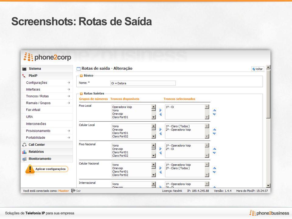Screenshots: Listagem de Ramais