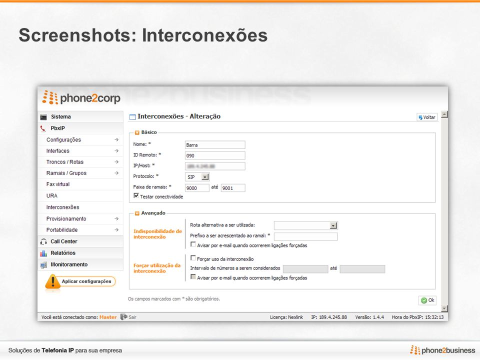 Screenshots: Interconexões