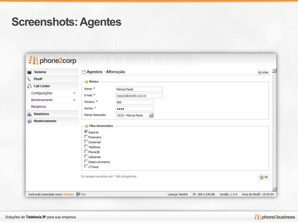 Screenshots: Ligações ativas