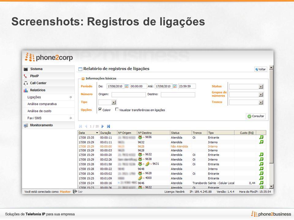 Screenshots: Análise comparativa