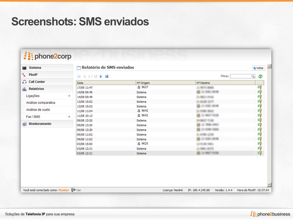 Screenshots: SMS enviados