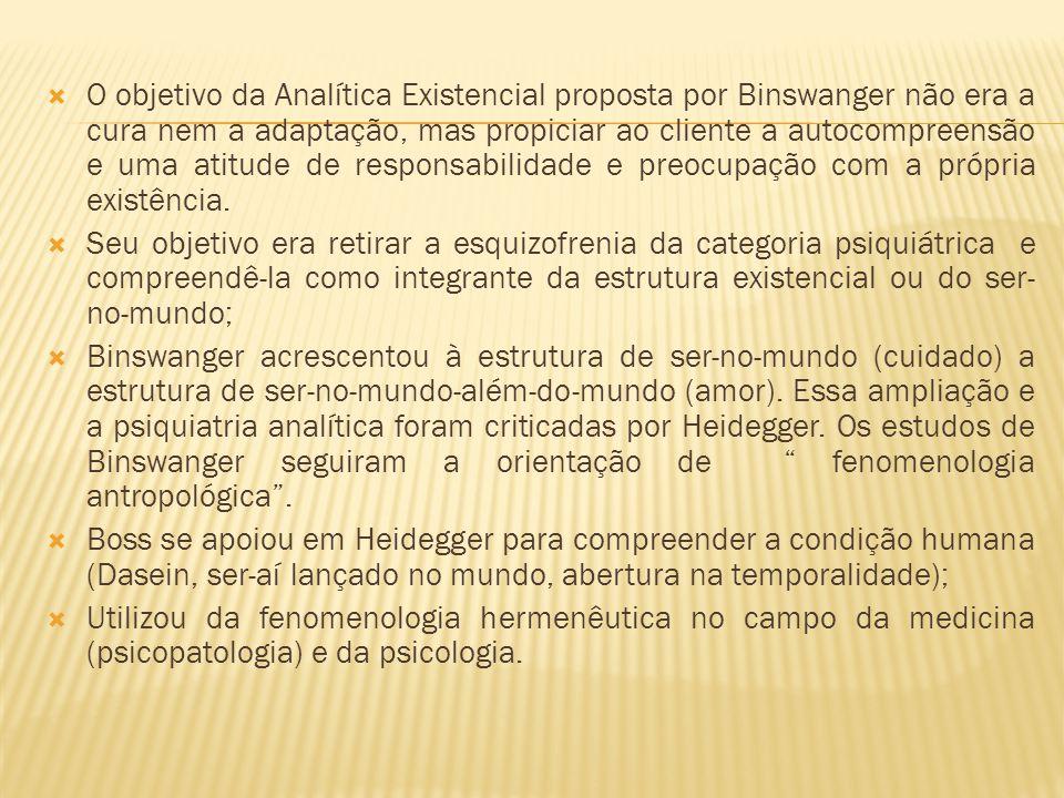 O objetivo da Analítica Existencial proposta por Binswanger não era a cura nem a adaptação, mas propiciar ao cliente a autocompreensão e uma atitude d