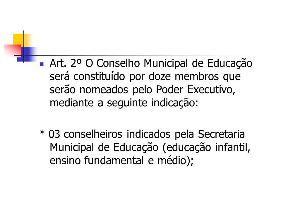 Art. 2º O Conselho Municipal de Educação será constituído por doze membros que serão nomeados pelo Poder Executivo, mediante a seguinte indicação: * 0