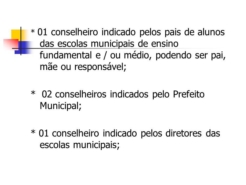 * 01 conselheiro indicado pelos pais de alunos das escolas municipais de ensino fundamental e / ou médio, podendo ser pai, mãe ou responsável; * 02 co