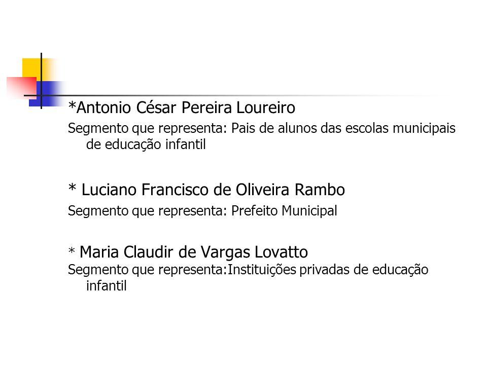*Antonio César Pereira Loureiro Segmento que representa: Pais de alunos das escolas municipais de educação infantil * Luciano Francisco de Oliveira Ra