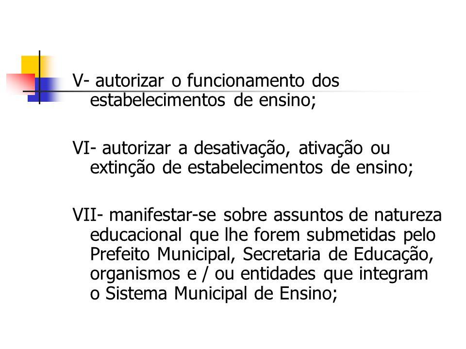 V- autorizar o funcionamento dos estabelecimentos de ensino; VI- autorizar a desativação, ativação ou extinção de estabelecimentos de ensino; VII- man