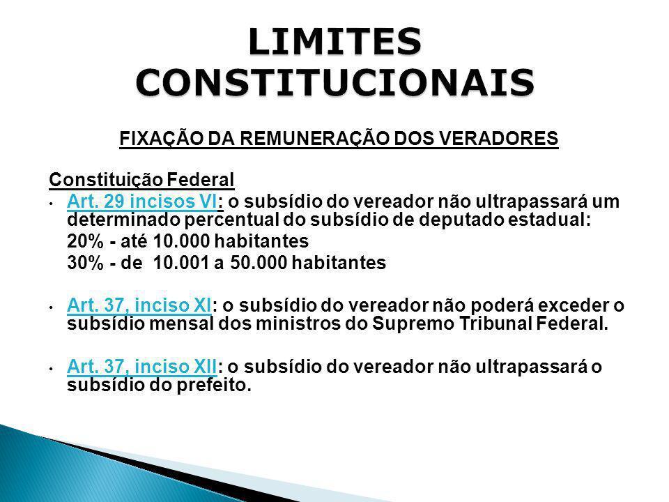 FIXAÇÃO DA REMUNERAÇÃO DOS VERADORES Constituição Federal Art. 29 incisos VI: o subsídio do vereador não ultrapassará um determinado percentual do sub