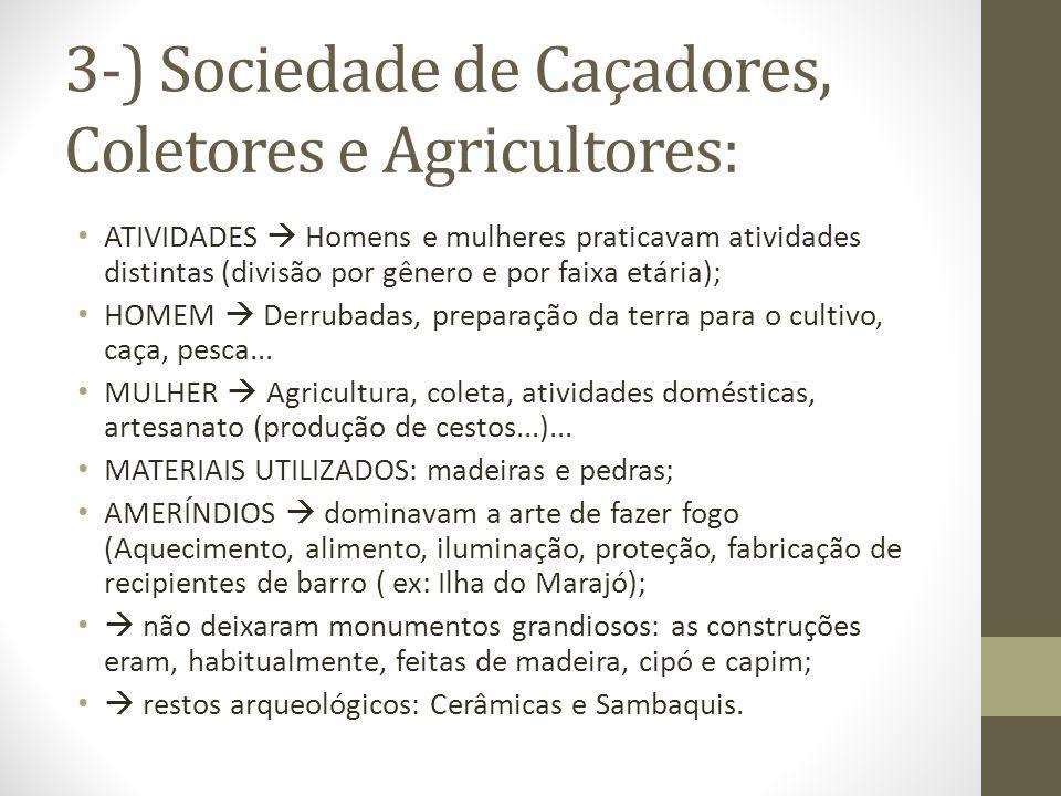 3-) Sociedade de Caçadores, Coletores e Agricultores: ATIVIDADES Homens e mulheres praticavam atividades distintas (divisão por gênero e por faixa etá