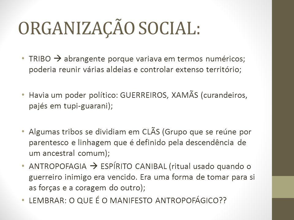 ORGANIZAÇÃO SOCIAL: TRIBO abrangente porque variava em termos numéricos; poderia reunir várias aldeias e controlar extenso território; Havia um poder
