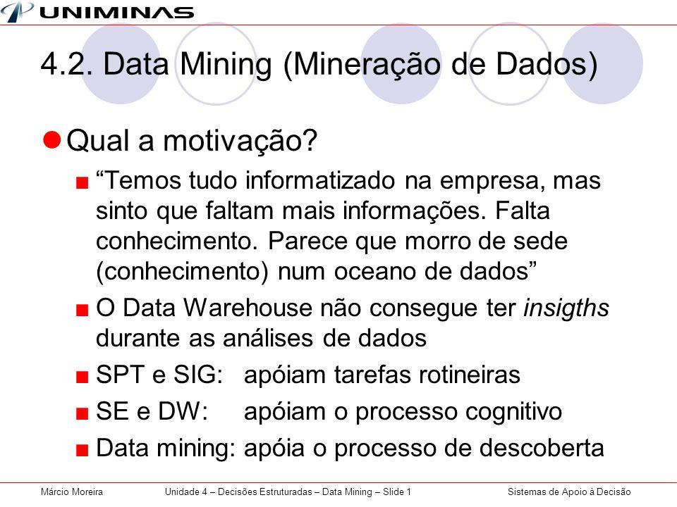 Sistemas de Apoio à DecisãoMárcio MoreiraUnidade 4 – Decisões Estruturadas – Data Mining – Slide 1 4.2. Data Mining (Mineração de Dados) Qual a motiva