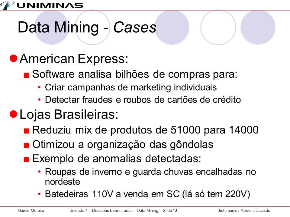 Sistemas de Apoio à DecisãoMárcio MoreiraUnidade 4 – Decisões Estruturadas – Data Mining – Slide 13 Data Mining - Cases American Express: Software ana
