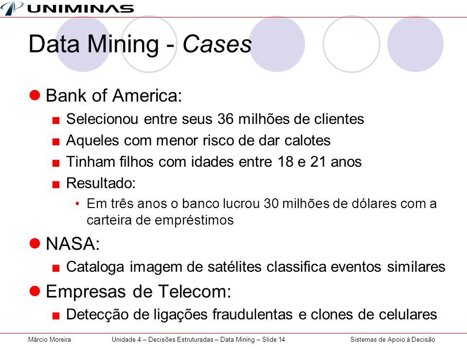 Sistemas de Apoio à DecisãoMárcio MoreiraUnidade 4 – Decisões Estruturadas – Data Mining – Slide 14 Data Mining - Cases Bank of America: Selecionou en