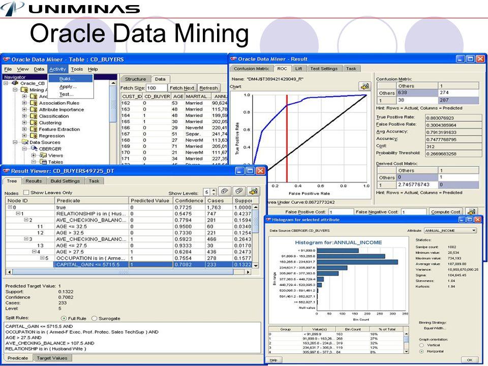 Sistemas de Apoio à DecisãoMárcio MoreiraUnidade 4 – Decisões Estruturadas – Data Mining – Slide 16 Oracle Data Mining