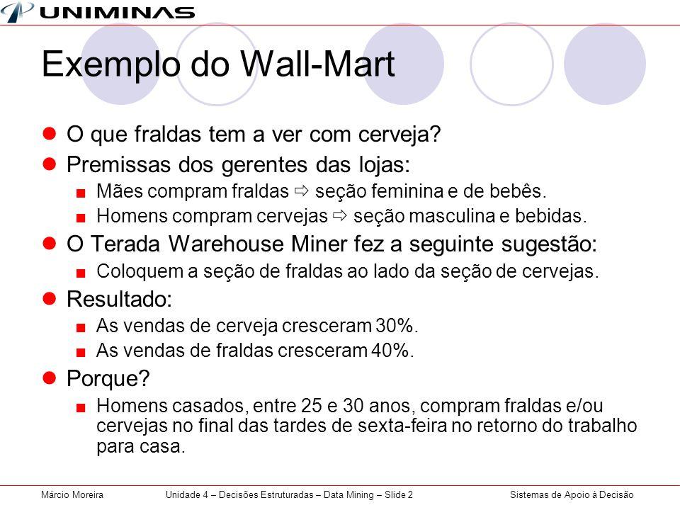 Sistemas de Apoio à DecisãoMárcio MoreiraUnidade 4 – Decisões Estruturadas – Data Mining – Slide 2 Exemplo do Wall-Mart O que fraldas tem a ver com ce