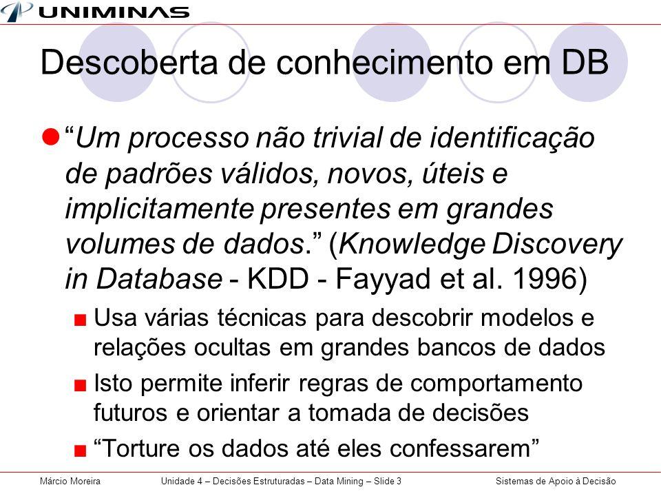 Sistemas de Apoio à DecisãoMárcio MoreiraUnidade 4 – Decisões Estruturadas – Data Mining – Slide 3 Descoberta de conhecimento em DB Um processo não tr