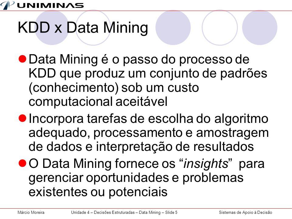 Sistemas de Apoio à DecisãoMárcio MoreiraUnidade 4 – Decisões Estruturadas – Data Mining – Slide 5 KDD x Data Mining Data Mining é o passo do processo