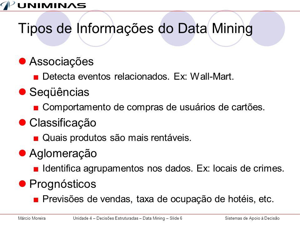Sistemas de Apoio à DecisãoMárcio MoreiraUnidade 4 – Decisões Estruturadas – Data Mining – Slide 6 Tipos de Informações do Data Mining Associações Det