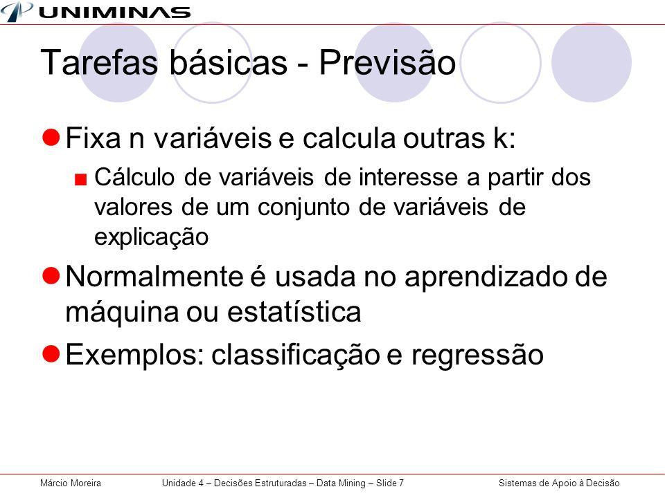 Sistemas de Apoio à DecisãoMárcio MoreiraUnidade 4 – Decisões Estruturadas – Data Mining – Slide 7 Tarefas básicas - Previsão Fixa n variáveis e calcu
