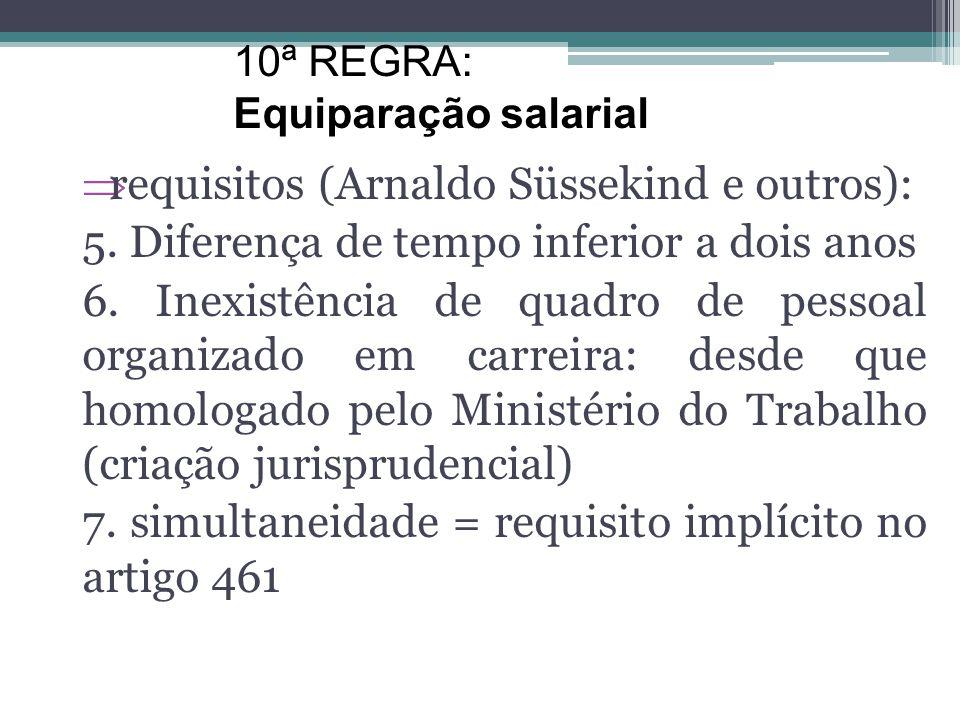 requisitos (Arnaldo Süssekind e outros): 2. Trabalho de igual valor: mesma qualidade e produtividade (mesma perfeição técnica; 3. mesmo empregador 4.