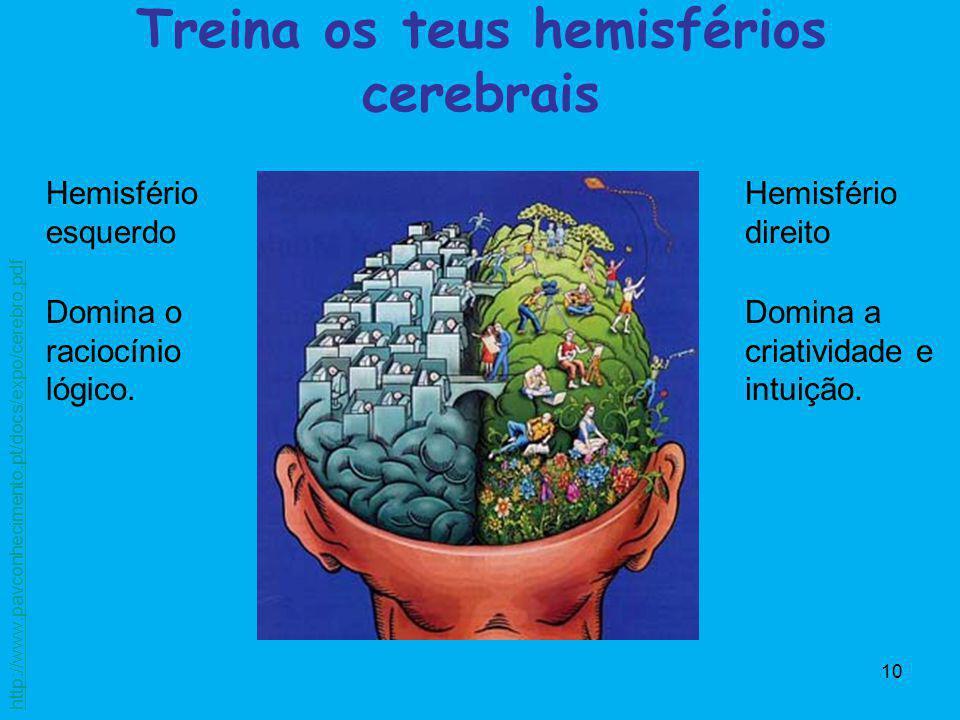 10 Treina os teus hemisférios cerebrais Hemisfério esquerdo Domina o raciocínio lógico. Hemisfério direito Domina a criatividade e intuição. http://ww