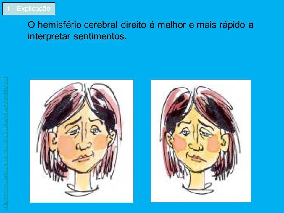 O hemisfério cerebral direito é melhor e mais rápido a interpretar sentimentos. 1 - Explicação http://www.pavconhecimento.pt/docs/expo/cerebro.pdf