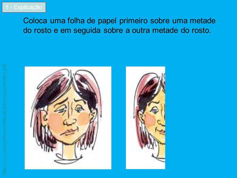 Coloca uma folha de papel primeiro sobre uma metade do rosto e em seguida sobre a outra metade do rosto. 1 - Explicação http://www.pavconhecimento.pt/