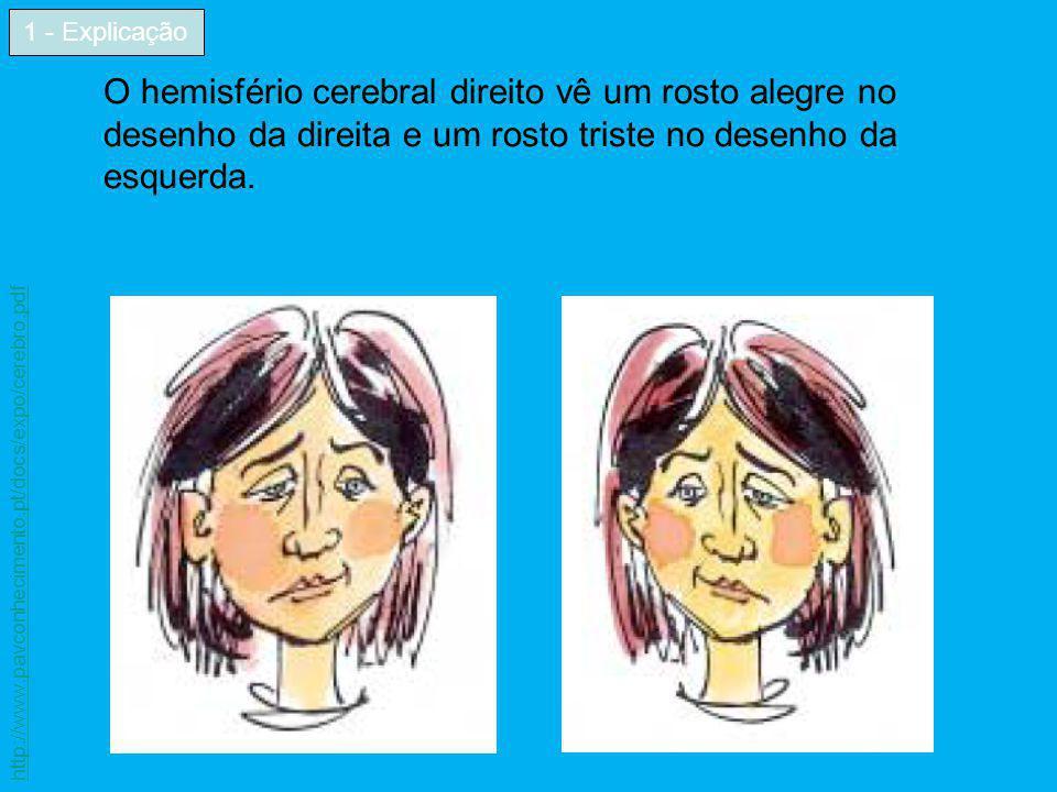 O hemisfério cerebral direito vê um rosto alegre no desenho da direita e um rosto triste no desenho da esquerda. 1 - Explicação http://www.pavconhecim