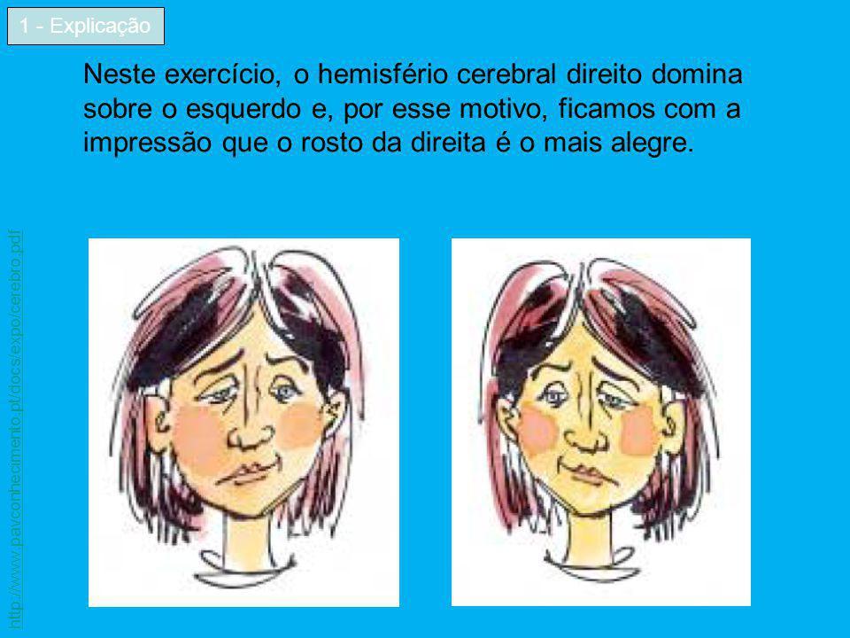 Neste exercício, o hemisfério cerebral direito domina sobre o esquerdo e, por esse motivo, ficamos com a impressão que o rosto da direita é o mais ale