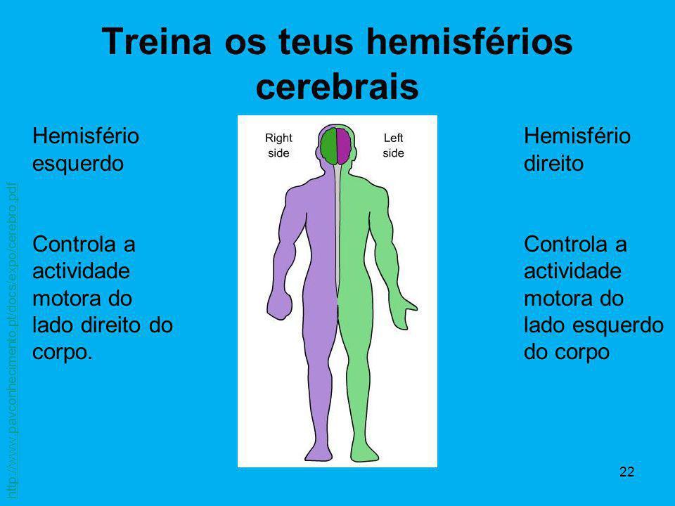 22 Treina os teus hemisférios cerebrais Hemisfério esquerdo Controla a actividade motora do lado direito do corpo. Hemisfério direito Controla a activ