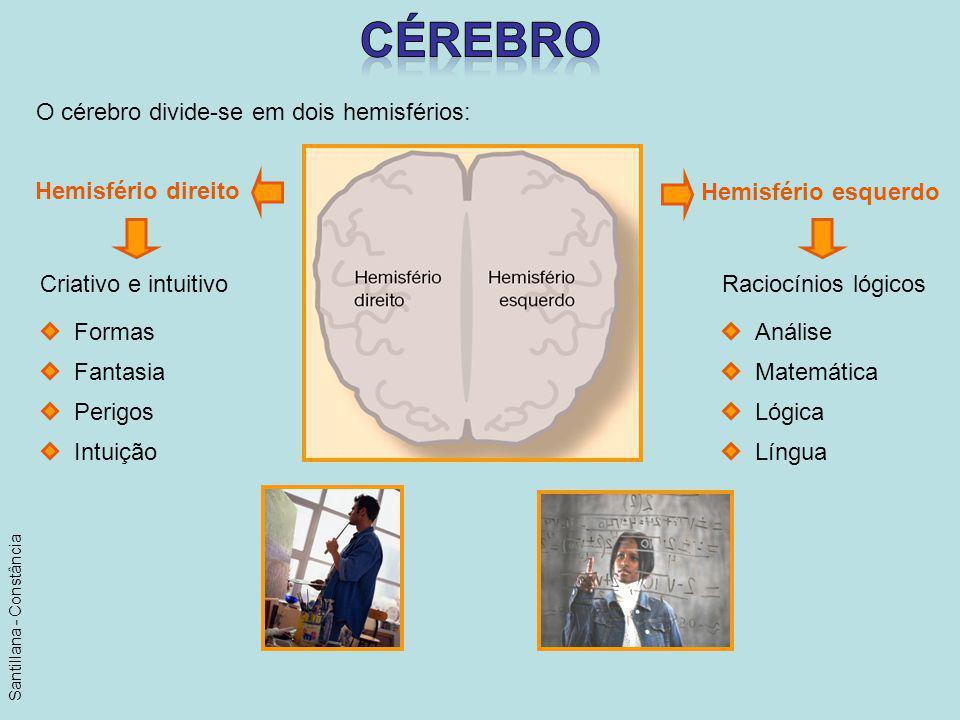 O cérebro divide-se em dois hemisférios: Hemisfério direito Hemisfério esquerdo Criativo e intuitivoRaciocínios lógicos Formas Fantasia Perigos Intuiç
