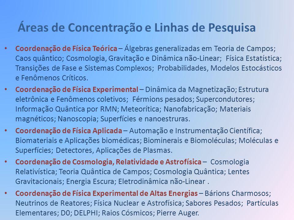 Áreas de Concentração e Linhas de Pesquisa Coordenação de Física Teórica – Álgebras generalizadas em Teoria de Campos; Caos quântico; Cosmologia, Grav
