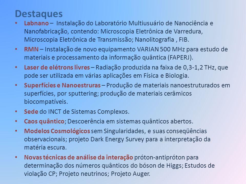 Formação dos Alunos Número total de alunos – 110: Doutorandos 66, e Mestrandos 44 Infra laboratorial e apoio – SQUID, PPMS; RX; Mössbauer; RMN; Filmes; Medidas elétricas; EPR; Litografia por feixes de elétrons; Microscopia de Força Atômica (e Magnética); Microscopia eletrônica de transmissão; Microscopia eletrônica de varredura; Preparação de nanofios por eletrodeposição; Química; Oficina mecânica; carpintaria; Preparação e tratamento térmico de amostras; Apoio para computação.