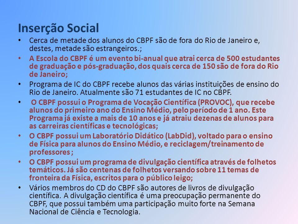 Inserção Social Cerca de metade dos alunos do CBPF são de fora do Rio de Janeiro e, destes, metade são estrangeiros.; A Escola do CBPF é um evento bi-