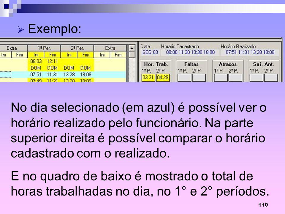 110 Exemplo: No dia selecionado (em azul) é possível ver o horário realizado pelo funcionário. Na parte superior direita é possível comparar o horário