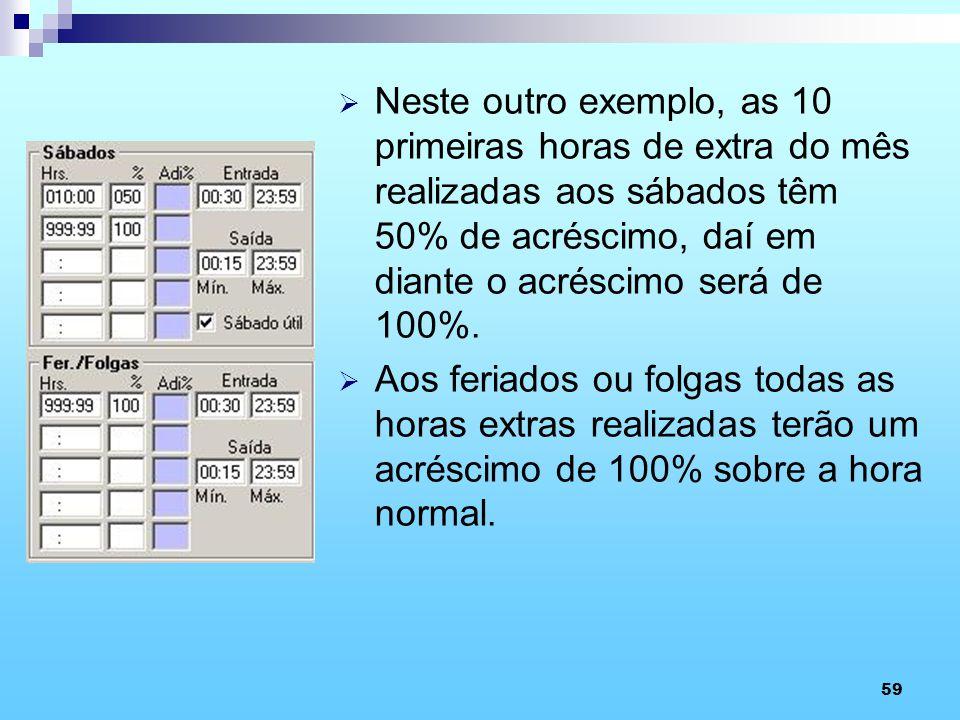 59 Neste outro exemplo, as 10 primeiras horas de extra do mês realizadas aos sábados têm 50% de acréscimo, daí em diante o acréscimo será de 100%. Aos