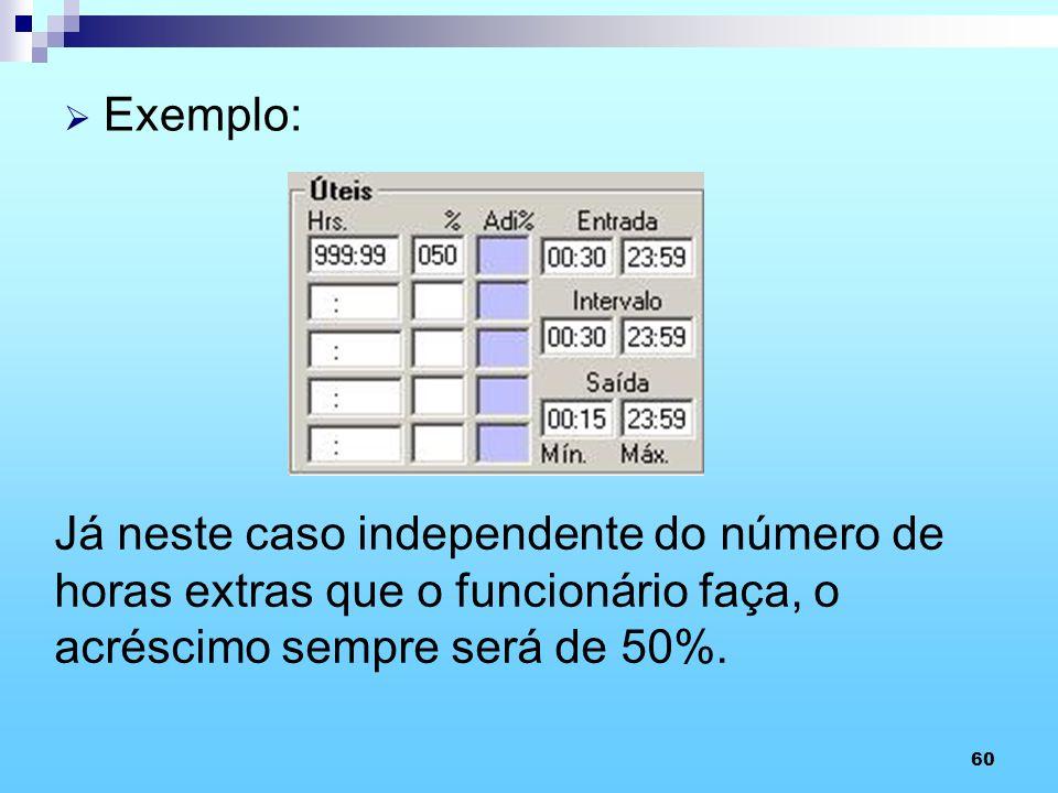 60 Exemplo: Já neste caso independente do número de horas extras que o funcionário faça, o acréscimo sempre será de 50%.