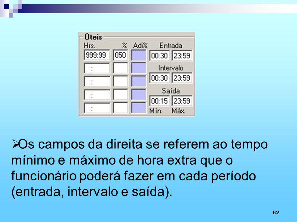62 Os campos da direita se referem ao tempo mínimo e máximo de hora extra que o funcionário poderá fazer em cada período (entrada, intervalo e saída).