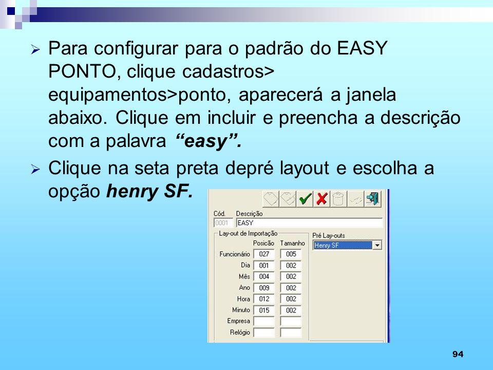 94 Para configurar para o padrão do EASY PONTO, clique cadastros> equipamentos>ponto, aparecerá a janela abaixo. Clique em incluir e preencha a descri